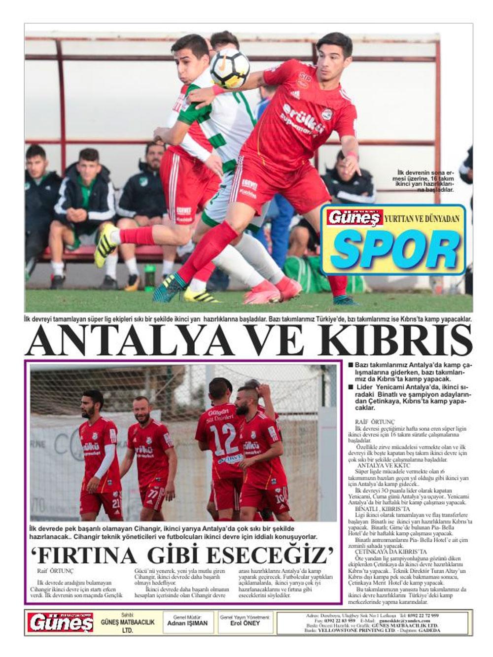 Spor basınında bugün... (8 Ocak 2018) galerisi resim 14