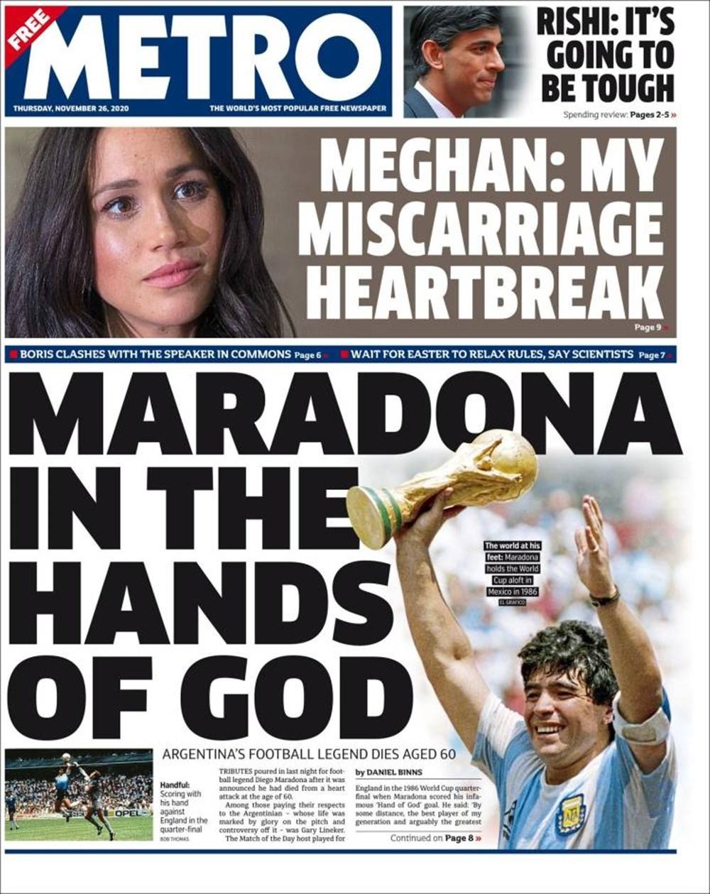 """Dünya Basını: """"Maradona Tanrı'nın Ellerinde"""" 11"""