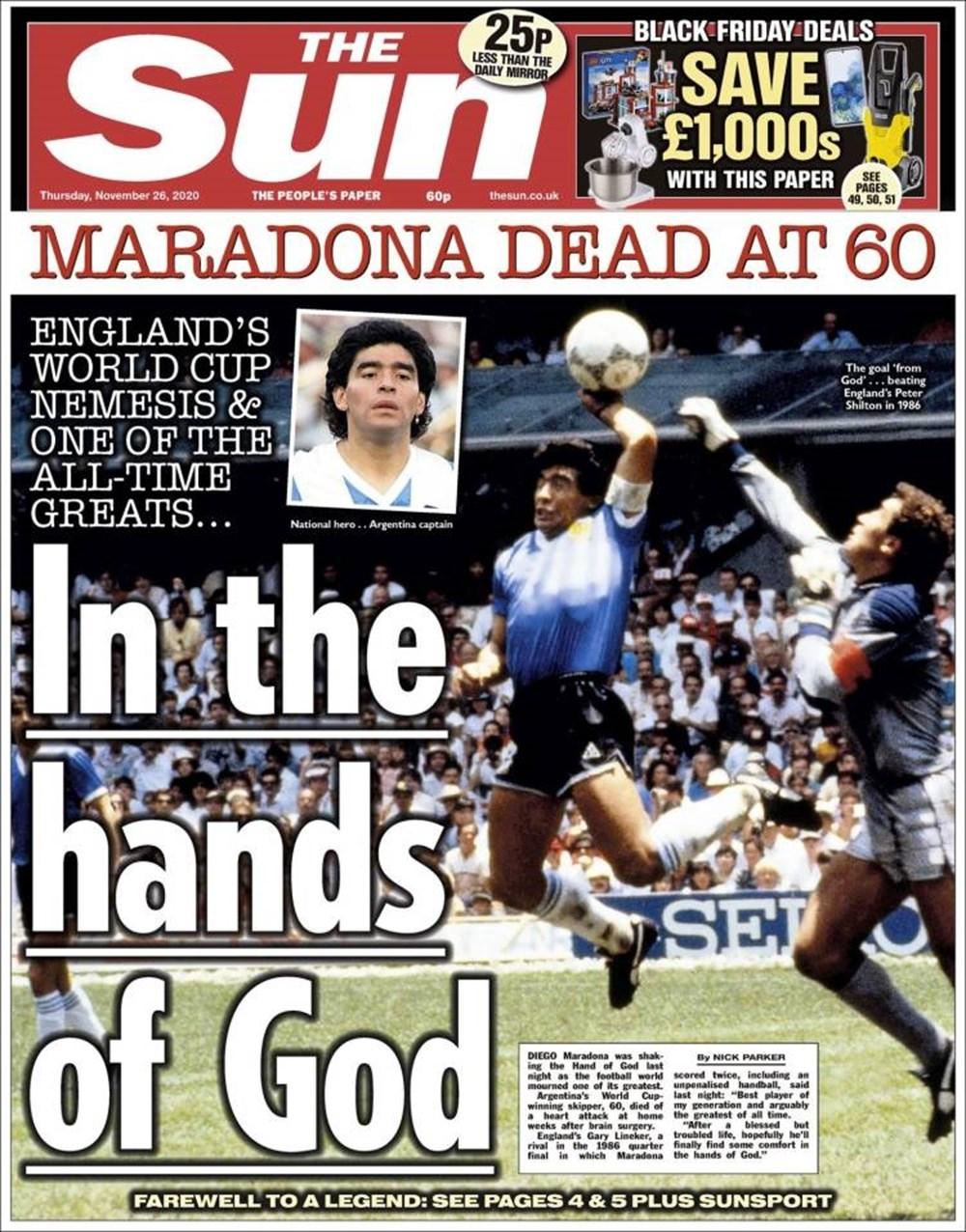 """Dünya Basını: """"Maradona Tanrı'nın Ellerinde"""" 13"""