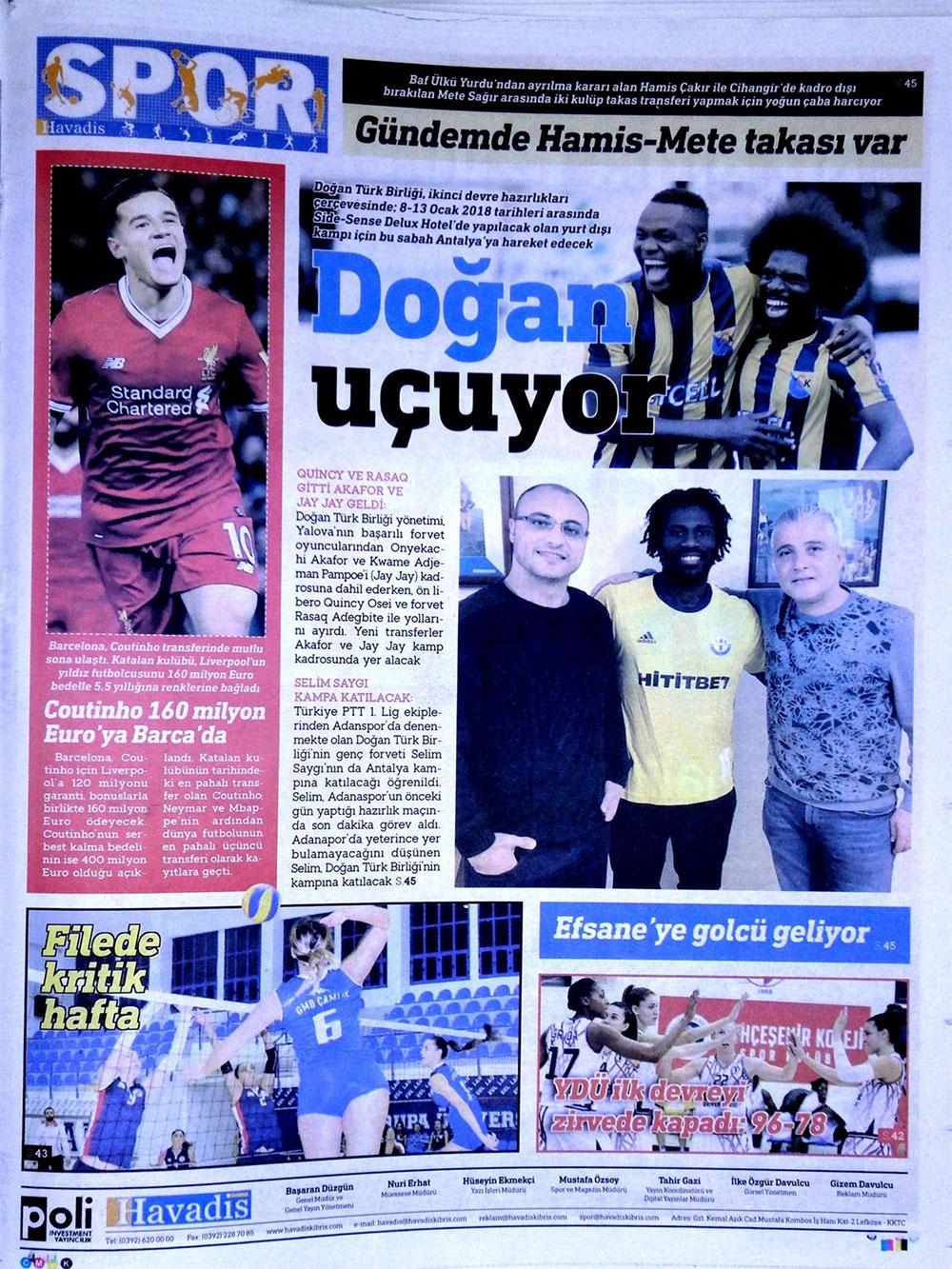 Spor basınında bugün... (8 Ocak 2018) 3