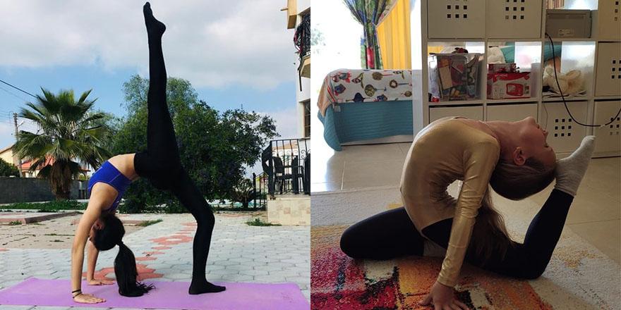 Cimnastikçiler evde çalışıyor